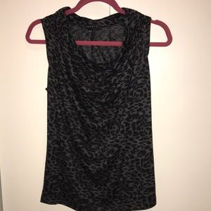 Theory leopard print cowl neck sleeveless top